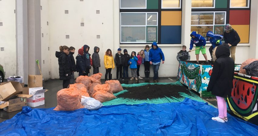 Outdoor Education – prepping the compost.
