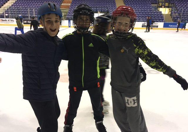 Skating with my buddies.